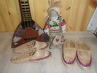 Лапти массажные соломенные (с цветным декором)