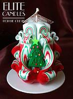 Резная свеча с ёлочкой, ручной работы, прекрасный новогодний подарок.