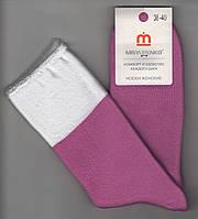 Носки женские махровые х/б без резинки с отворотом Мисюренко, 38-40 размер, розовые