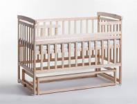 Детская кроватка-трансформер Дитячий сон с маятником (без ящика), цвет натуральный