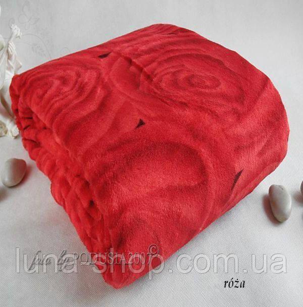 Плед из микрофибры Роза красная, 160*210, 200*220, Польша
