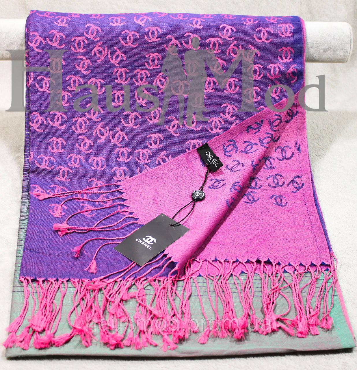 Палантин фиолетовый с розовым