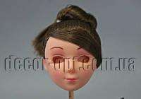 Голова куклы 6 см с макияжем с каштановыми волосами