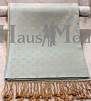Палантин брендовый  Louis Vuitton ЕВ - 642 голубой+коричневый