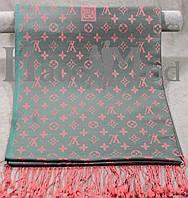 Палантин брендовый  Louis Vuitton ЕV - 642 Серо-бирюзовый+розовый