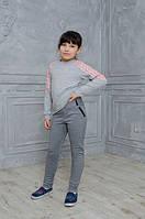 Стильные детские лосины с кожаными вставками