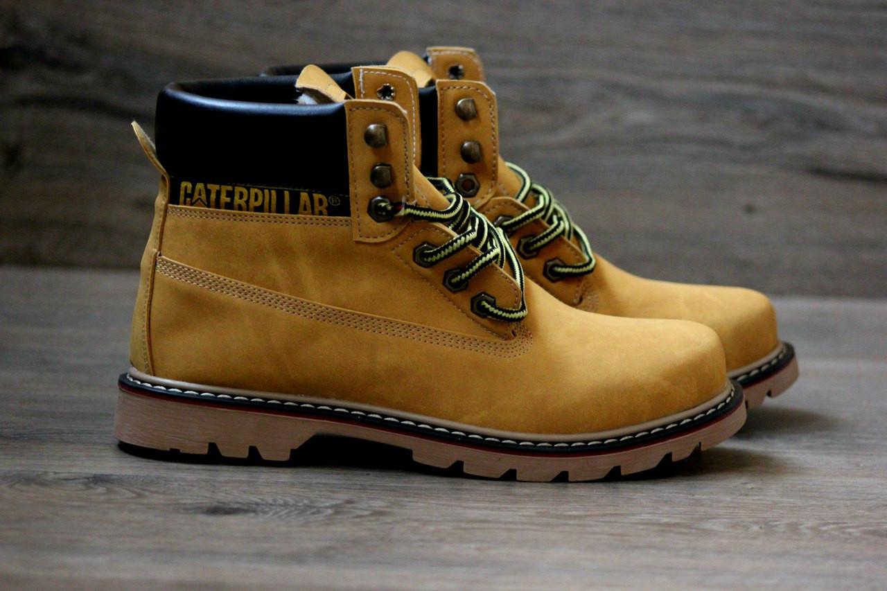 1ba5ecd26 Зимние ботинки в стиле Caterpillar (CAT) мех нубук песочные высокие -  Интернет-магазин