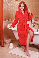 Теплый женский халат больших размеров (Красный)