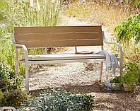 Скамейка для сада Haversham 2 Seat Classic Garden Bench in Taupe and Dark Linen