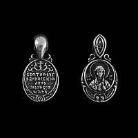 Кулон оберег Анна в виде иконы, покрытие серебро