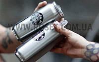 Термокружка в виде металлической банки с поилкой - Starbucks 500 мл