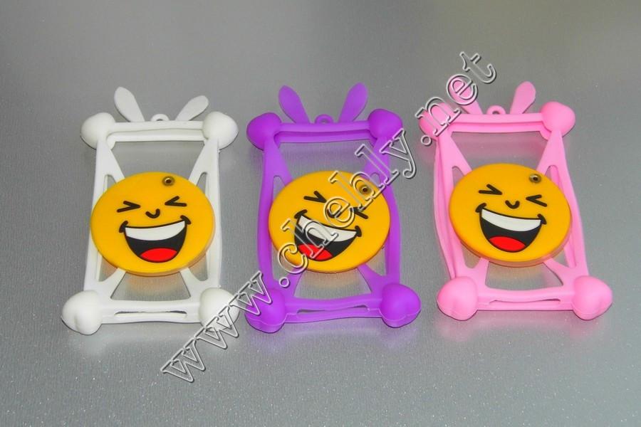 Универсальный силиконовый чехол смайлик смеется с ушками зайчика и зеркалом для телефона с экраном от 3,5 до 5,5 дюймов