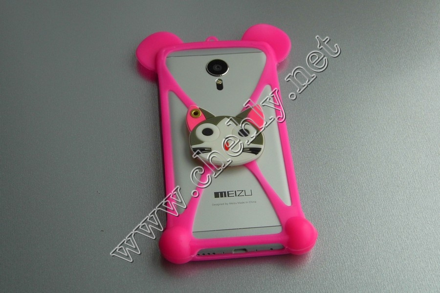 Универсальный силиконовый чехол голова кота с ушками мишки с зеркалом для телефона с экраном от 3,5 до 5,5 дюймов