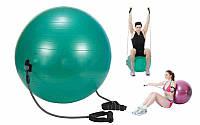Мяч для фитнеса (фитбол) глянцевый с эспандерами 65см (PVC, 1100г, цвета в ассор, ABS)