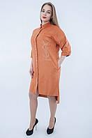 Платье  больших размеров из  замши  рыжего цвета 563 ( размеры 52 ), фото 1
