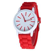 Женские силиконовые наручные часы кварцевые Feb22 на силиконовом ремешке красные, белые, фото 1