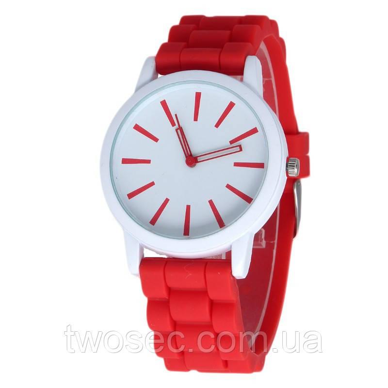 Женские силиконовые наручные часы кварцевые Feb22 на силиконовом ремешке красные, белые
