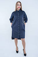 Платье-рубашка синего цвета 563 (54 58), фото 1