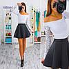Костюм юбка неоприн блуза гипюр., фото 5