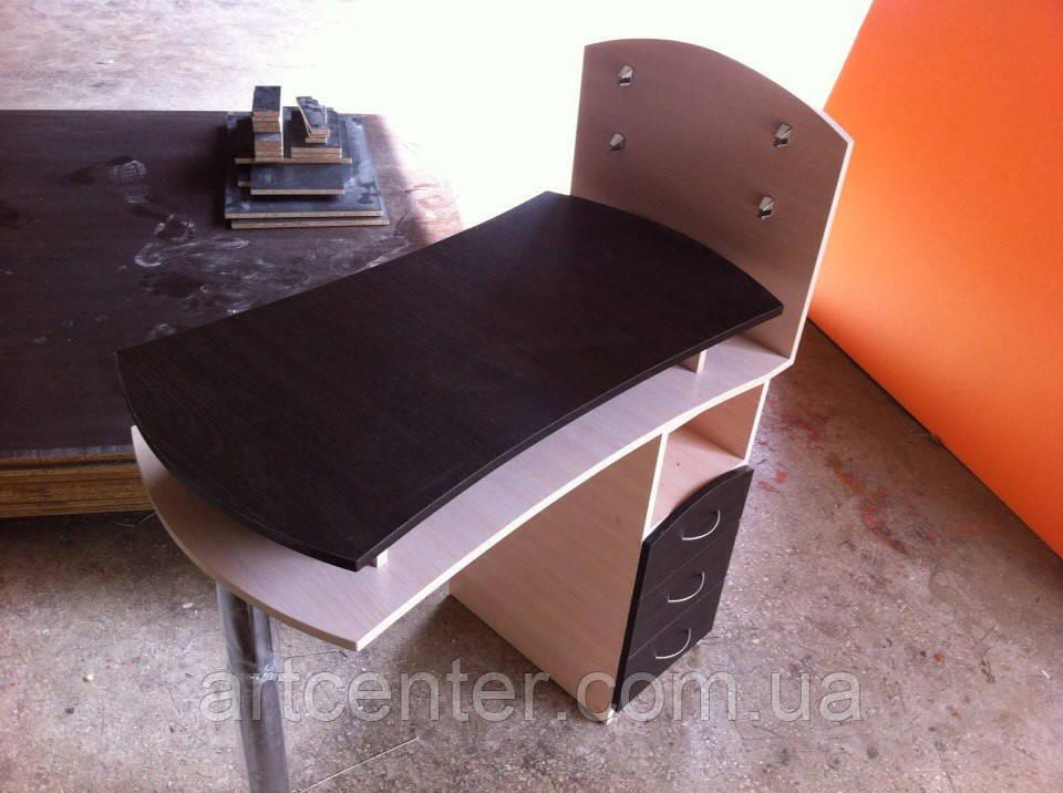 Стол маникюрный двухярусный, однотумбовый, с ящиками и стеклянными полочками для лаков