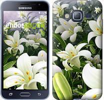 Чехол на Samsung Galaxy J3 Duos (2016) J320H Зеленый, Белые лилии
