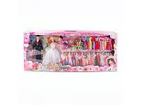 Куклы жених и невеста с каретой, конём и нарядами Q88-02B, высота 30 и 28 см, коробка 89х35х7 см
