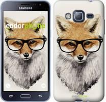 Чехол на Samsung Galaxy J3 Duos (2016) J320H Белый, Лис в очках