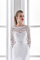 """Элегантное свадебное платье силуэта """"рыбка"""" с Фальш-декольте, вышито макраме и бисером"""