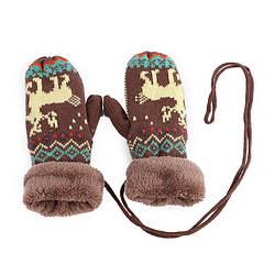 Варежки рукавицы с плюшевым утеплителем Олень