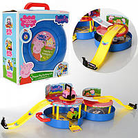 Набор Свинки Пеппы XZ-376: 4 фигурки с машинками, чемодан, гараж со спусками, 23х25х10,5 см
