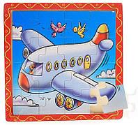 Деревянные пазлы «Самолет» - 16 элементов