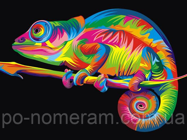 Картина по номерам радужный хамелеон