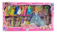 Красивые платья для кукол V30A: кукла 27см, 20 платьев, расческа, сумка, аксессуары, 60х33,5х6 см