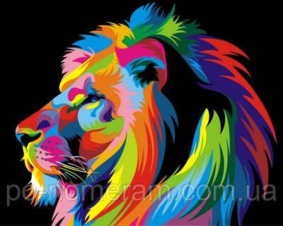 Картина по номерам радужный лев в профиль