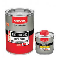 Novol грунт акриловый 300 белый 1л + отвердитель 0,250л