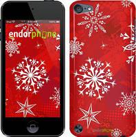 Чехол на iPod Touch 5 Красный, Снежинка 2