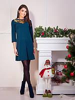 Модное креповое платье зеленого цвета