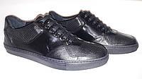 Туфли кроссовки кеды мужские чёрные с перфорацией и лаковыми вставками на шнурках