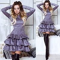 Платье замша ( коричневое,черное, серое), фото 1