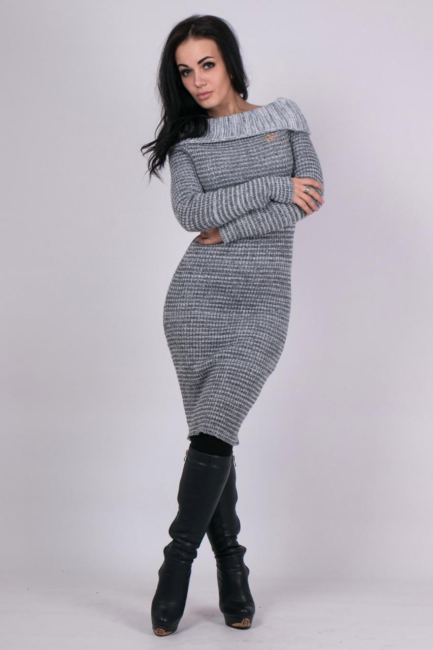 Платье женская вязаное серого цвета