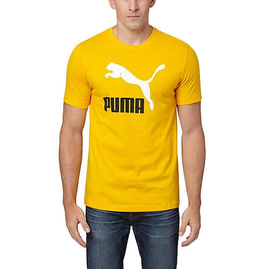 Футболка с принтом Puma logo мужская | Желтая