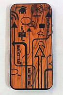 Деревянный чехол с надписями Wood Plating Basketball TPU case iPhone 5/5S/SE