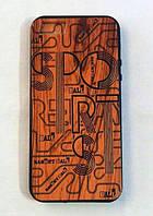 Деревянный чехол с надписями Wood Plating Basketball Sports TPU case iPhone 5/5S/SE