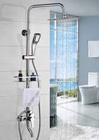 Душевая стойка колона с верхним душем полочкой, фото 1