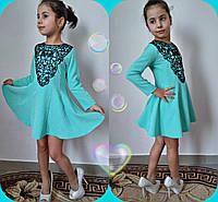 Детское нарядное платье с черным кружевом