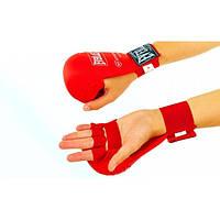 Накладки (перчатки) каратэ PU ELAST (р.S, красный, манжет на резинке)