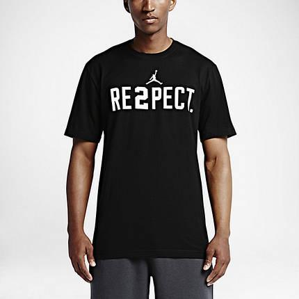 Футболка с принтом Air Jordan Respect мужская | Черная, фото 2