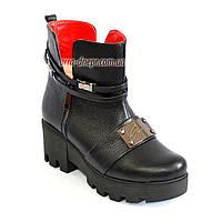 Стильные кожаные женские демисезонные ботинки на тракторной подошве.