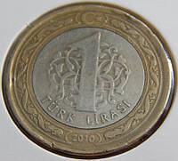 Монета Турции 1 лира. 2010 год.