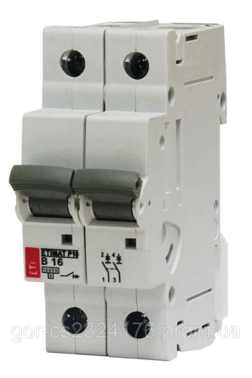 Двухполюсный автоматический выключатель 4А Etimat6 C-4/2
